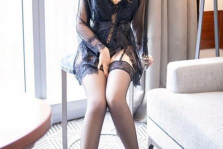 [XiaoYu画语界]Vol.440_嫩模郑颖姗黑色蕾丝情趣内衣配吊带蕾丝袜秀翘臀诱惑写真68P