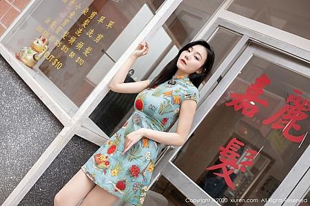 XiuRen第2963期_嫩模安然Maleah新年发型屋主题怀旧港风旗袍半露豪乳诱惑写真65P