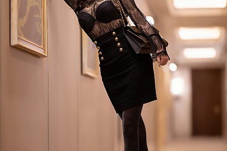 [XiaoYu画语界]Vol.442_女神杨晨晨sugar成都旅拍黑色情趣内衣配黑丝裤袜诱惑写真75P