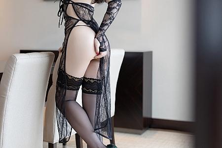 [XiaoYu画语界]Vol.603_女神芝芝Booty私房黑色缕空情趣内衣秀豪乳遮点极致诱惑写真67P